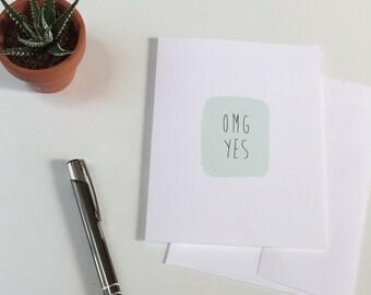 OMG Yes | Pastel Mint Green Card | Blank Inside