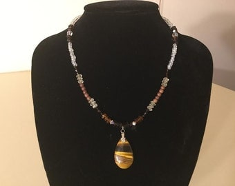 17 inch necklace with tiger eye pendant