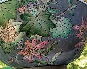Oriental Bowl, Porcelain Bowl, Blue Floral Oriental Bowl, Decorative Bowl
