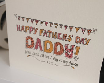 First (1st) Fathers Day Daddy, square sketch bunting card, pinks, handmade