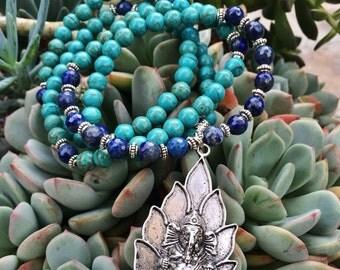 108 Mala Beads   Lapis Lazuli & Turquoise Howlite   Ganesh Ganesha Charm   Yoga Meditation Bead Hindu Prayer Beads   Buddha Buddhist Rosary