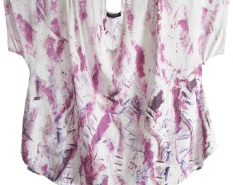 Peggy Lutz Plus Shell Top Purple Silver White Wearable Art 1508 Size 30/32