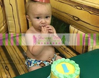 MONKEYS Aqua Off White Birthday Diaper Cover Optional Bow Tie Cake Smash Newborn Photo Prop