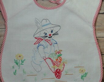 VINTAGE Bunny Bib Hand Embroidered Peter Rabbit Bunny Boy or Girl Gender Neutral
