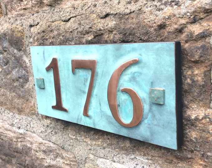 "House number in real copper  with plywood back, 3 x nos 3""/75mm, 4""/100mm, ships worldwide, maintenance free g"