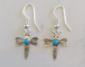Native American Navajo Sterling Silver Turquoise Dragonfly Earrings - Ed Abeyta