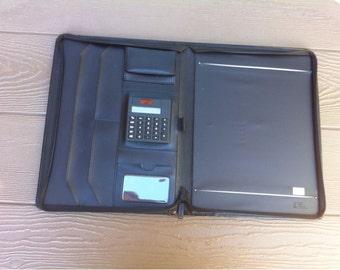 LEEDS 3-Point Zipper Black Faux Leather Portfolio Notebook Ipad Tablet Surface Holder Case Organizer