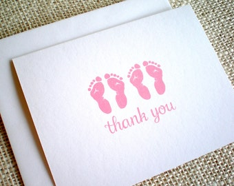 Baby Girl Twins Thank You Cards  - Set of 10 Cute Pink or Purple Twin Footprints Baby Shower Thank You Notes - Hand Drawn Thank You Cards