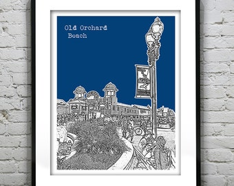 Old Orchard Beach Skyline Poster Art Print Maine ME Version 1