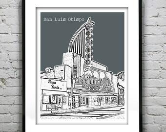 San Luis Obispo Skyline Poster Art Print California CA