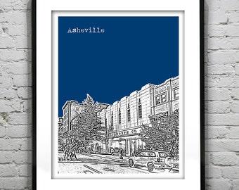 Asheville North Carolina City Skyline Poster Art Print NC Version 2