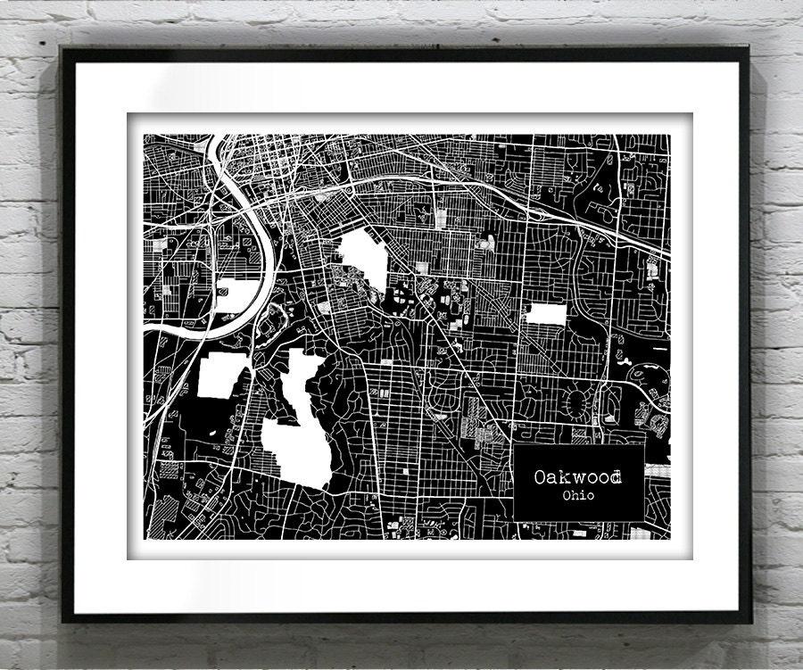 Holiday Sale Oakwood Ohio Blueprint Map Poster Art Print
