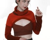Vesta Shrug - Made to Order - Hand dyed, Cotton Sweater Cowl and Sleeves - Eco Vintage Deadstock Fabric - Fall Autumn Winter Fashion