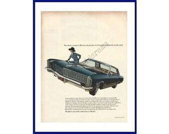 BUICK RIVIERA AUTOMOBILES Original 1965 Vintage Extra Large Color Print Ad - Black 2-Door Car