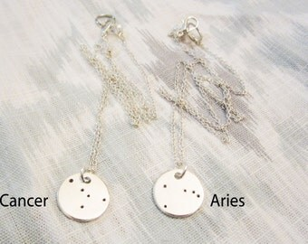 Small Custom Constellation Sterling Silver Necklace - Hand Stamped Astronomy Jewelry - Choose Your Own Constellation