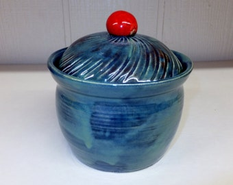 Ocean Blue Ceramic Kitchen Canister with Cherry Red Knob