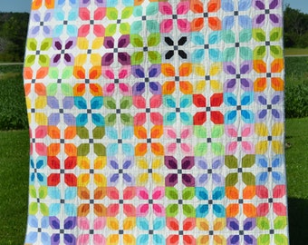 Little Blooms Quilt Pattern, PDF, instant download, Solids Prints, modern patchwork, flower blocks, blue, green, pink, grey.