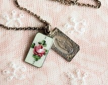 Vintage Guilloche Enamel Sliding Medal Necklace . Sterling Silver Chain .  Hand Painted Roses . Catholic Religious Jewelry