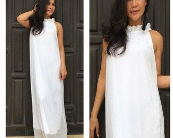 white dress chiffon evening long maxi Sun dress