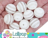 SALE 20mm WHITE & CLEAR Stripe Beads Chunky Necklace Beads White Striped Resin Beads Round Plastic Bubblegum Beads Bubble Gum Beads Srb05