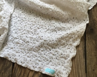 white lacey receiving/swaddle blanket-photography prop- receiving blanket