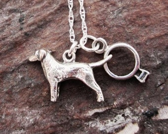 Labrador Ring Large Sterling Silver Necklace