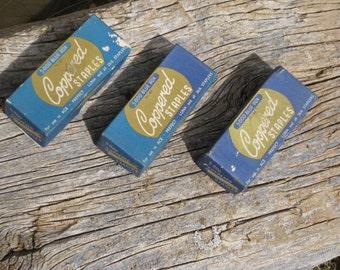 3 Blue Boxes Of Mid Century Stancare Copper Staples/ Ace/Luna/Prefect 26/6 Staples/ Vintage Office Supplies/Vintage Stapler, Staples/Copper