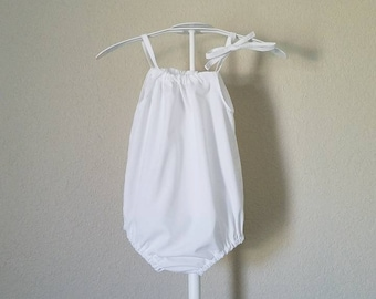 Baby Girl Romper | White Romper | 100% Cotton | Summer Sunsuit | Bubble Playsuit | Pillowcase Romper | Newborn - Size 2 | Solid Romper | Sun