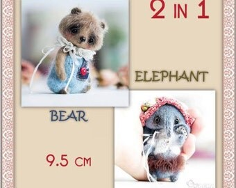 """2in1 pattern """"Bear and Elephant 9.5 cm"""""""
