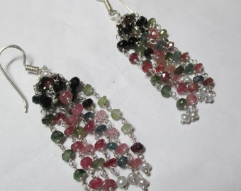 Ladies sterling silver dangle earrings with gorgeOus faceted multi color tourmalines