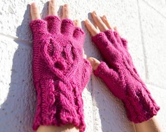 Women's hot pink half-finger heart gloves, gift for her, wool knit gloves, fingerless gloves, texting gloves, smoking gloves, hearts