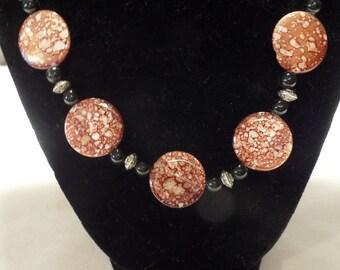 "Speckled brown disc 19"" Necklace"