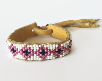 Leather Cuff - Pink - Cuff - Beaded