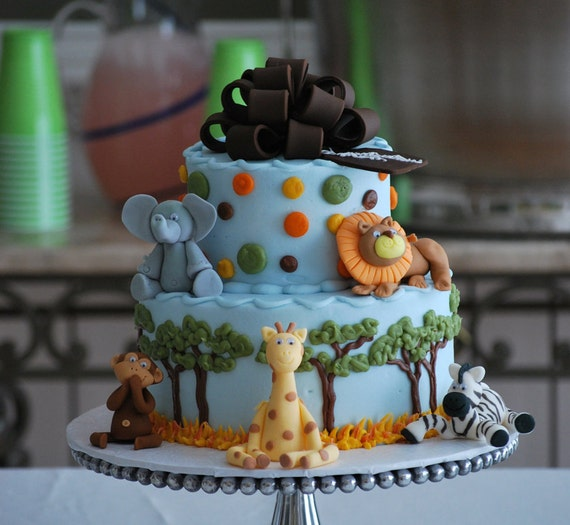 Baby Shower Cake Decorations Edible : Edible Fondant Jungle Baby Shower Cake toppers: Jungle