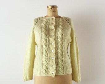 1960s Buttercream Sweater / Hand Knit / Dreamy Yellow