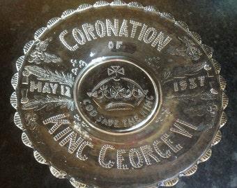 1937 Coronation King George VI Glass Plate  commemorative souvenir