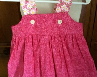 Daisy Spring Dress--READY TO SHIP Size 18 to 24 months Pink with White daisies and buttons