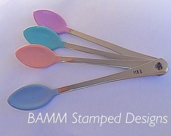 Baby spoon, handstamped, various colours available