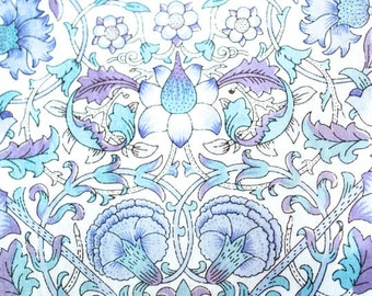 """Liberty of London Fabric Scrap Blue and Periwinkle """"Lodden"""" Print by William Morris Cotton Tana Lawn 4.5  x 26"""""""