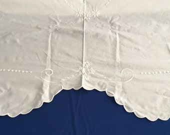 52 x 88 White Cotton Embroidered Tablecloth