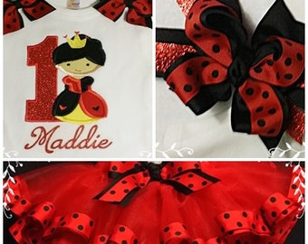 Birthday Queen Of Hearts TuTu Set; Ribbon Tutu, Personalized Bodysuit And Hair Bow; Half,1st,2nd,3rd,4th,5th  Birthday