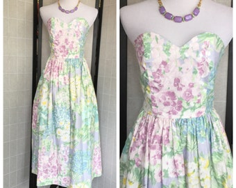 Summer Sale/ Vintage  floral New look Dress/ 80's does 50's strapless Dress