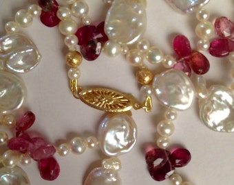Gorgeous Cultured Pearls and Pink Tourmaline Necklace