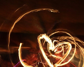 10% OFF SALE Heart photo, heart photography, love photography, art deco, beautiful picture! Picture of fire dancing
