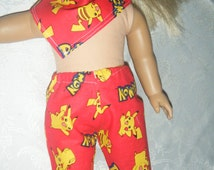 AMRICAN GIRL INSPIRED lot of handmade doll clothes.  Pokemon print capris with matching scarf.  Red and yellow ..to fit American Girl doll