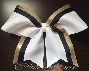 """3""""  Gold Navy White Cheer Bow #251915081"""