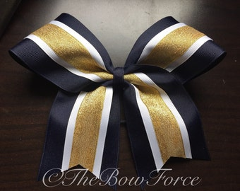 """3"""" Navy White Gold Cheer Bow"""