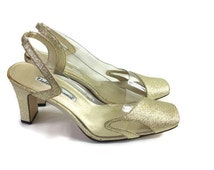 Gold vintage shoes // gold and clear plastic shoes // gold 90s heels // 80s 90s heels // wedding shoes // retro gold pumps // size UK 5