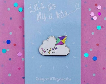 Enamel pin lets go fly a kite
