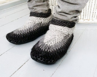 Funky Crocheted Slippers for Men Handmade by Muffle-Up! Dark Gray Knitted Wool Slippers for Men House Shoes Peruvian Highland Wool